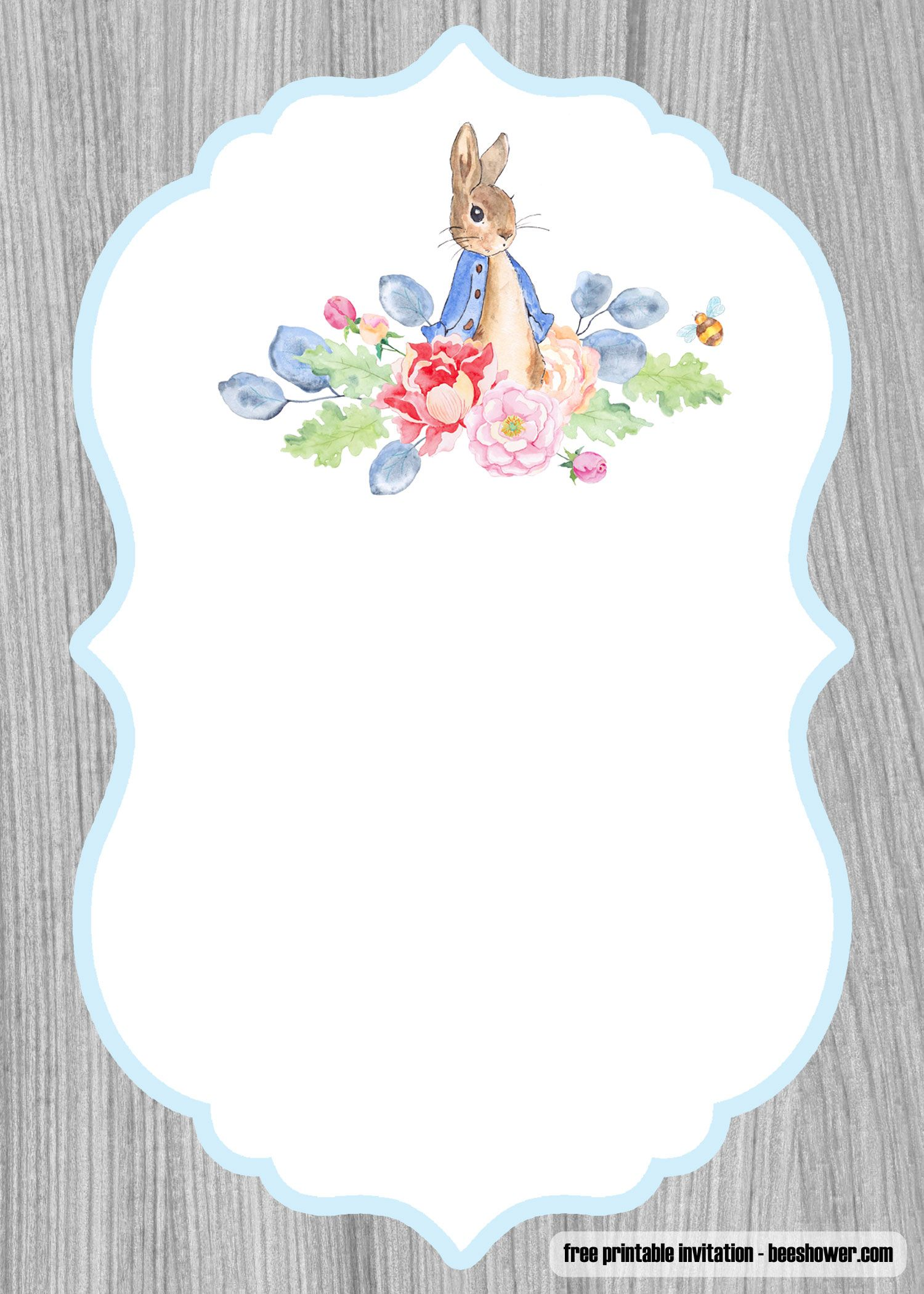 Awesome Free Peter Rabbit Baby Shower Invitations Templates