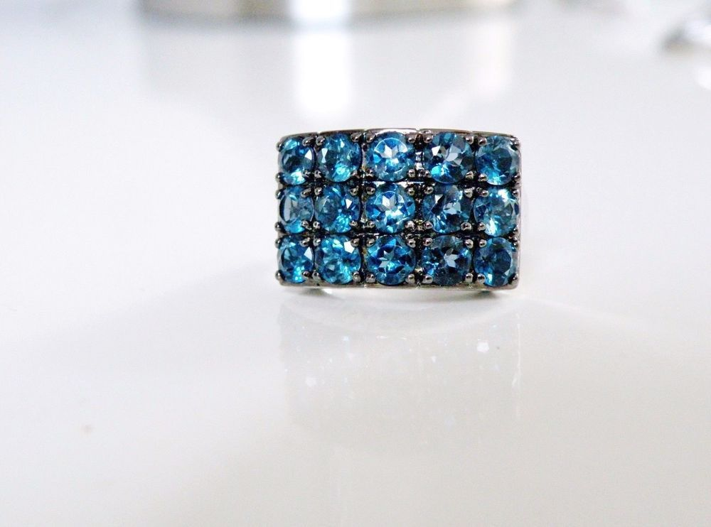 Sterling Silver London Blue and Blue Topaz 3-Row Ring