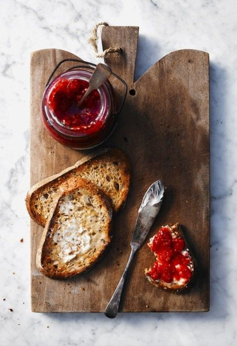 ∆ Toasted french bread w/ Coconut oil and homemade rasberry jam