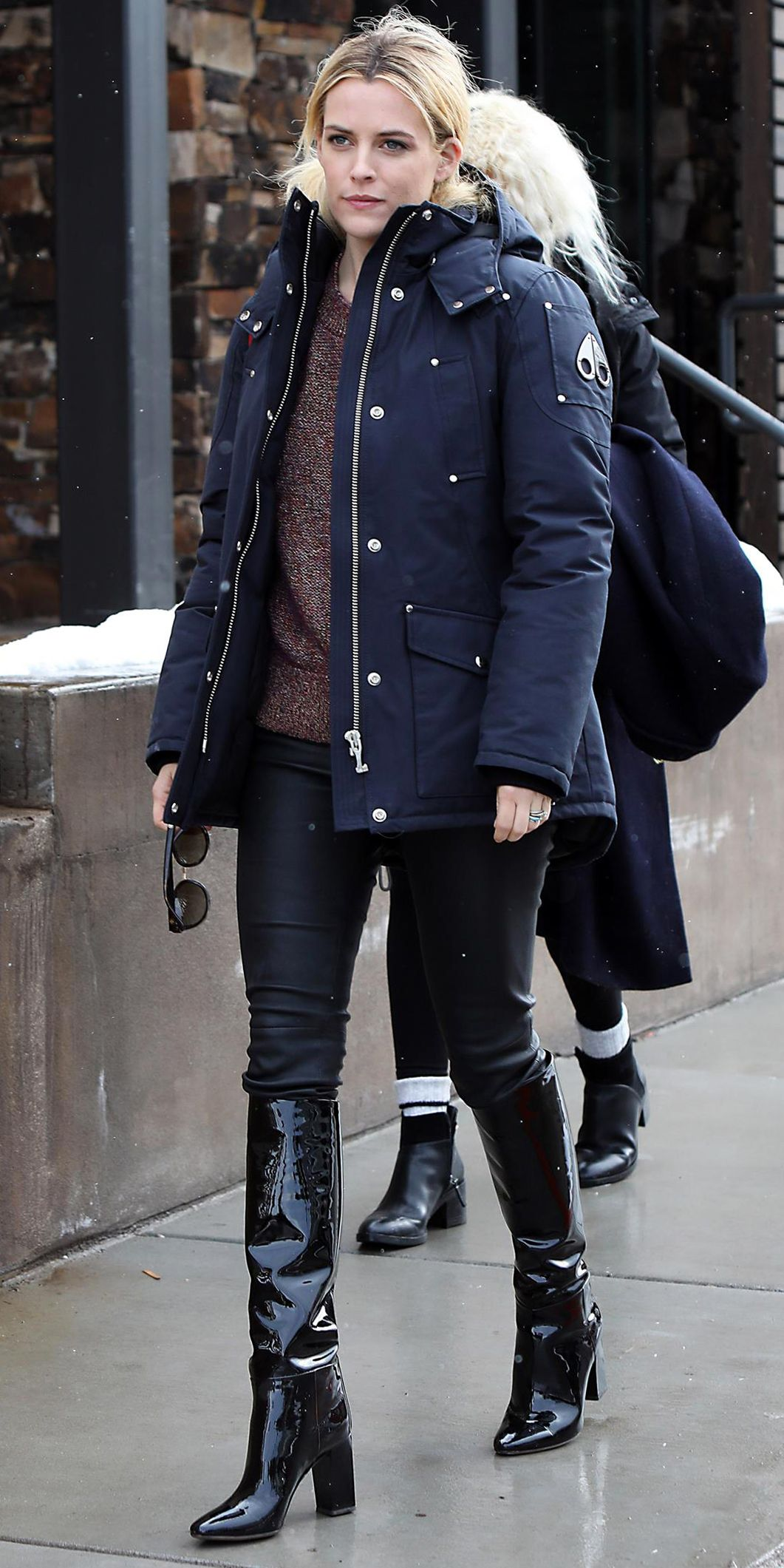 08162b6bff6a4 The Winter Parka Every Celebrity Is Wearing at Sundance - Riley Keough from  InStyle.com