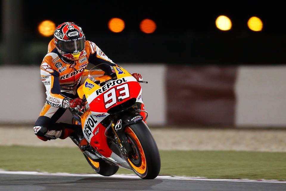 One-wheel salute: Still healing from a broken leg, reigning MotoGP World Champion Marc Marquez won a thrilling pole position for the season-opener in Qatar