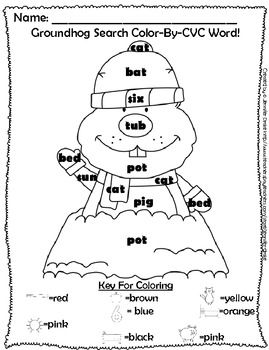 FREE Groundhog 'Color-By-CVC Word & 10 Frame' *Another