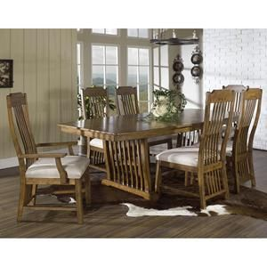 Craftsman 7-Piece Dining Set in Medium Brown Oak | Nebraska Furniture Mart