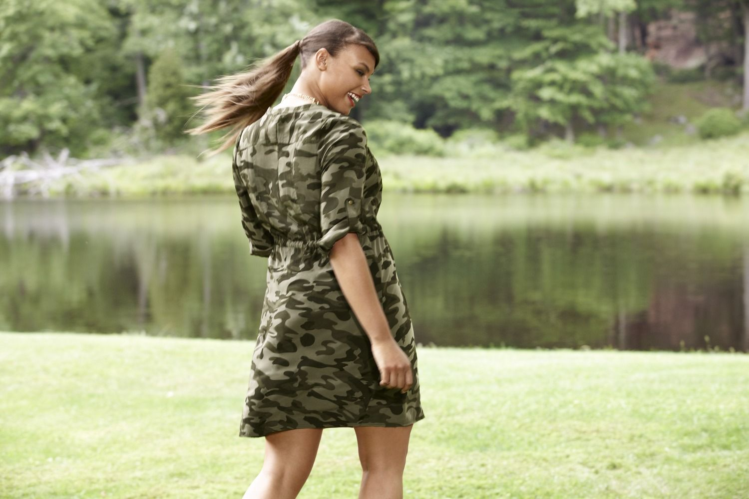 Camo Soft Shirt Dress. Finished with flapped chest pockets and tab & button long sleeves for fashionable rolling. #LaneBryant