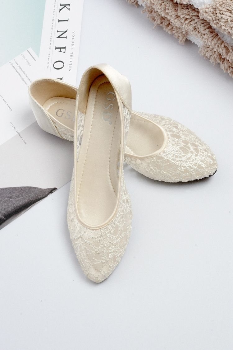 Champagne Ballet Flats Slippers Shoes Evening Lace Flat Party Flat Wedding Flats Wedding Shoes Lace Summer Wedding Shoes Wedding Shoes Flats