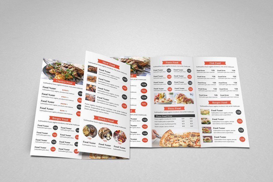 Food Menu Bifold Trifold Brochure V2 Trifold Brochure Trifold Brochure Design Food Menu
