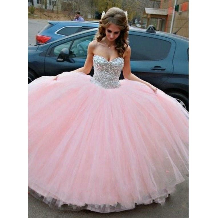 Pink Beaded Quinceanera Dress Ball Gown Graduation Party Dresses ...