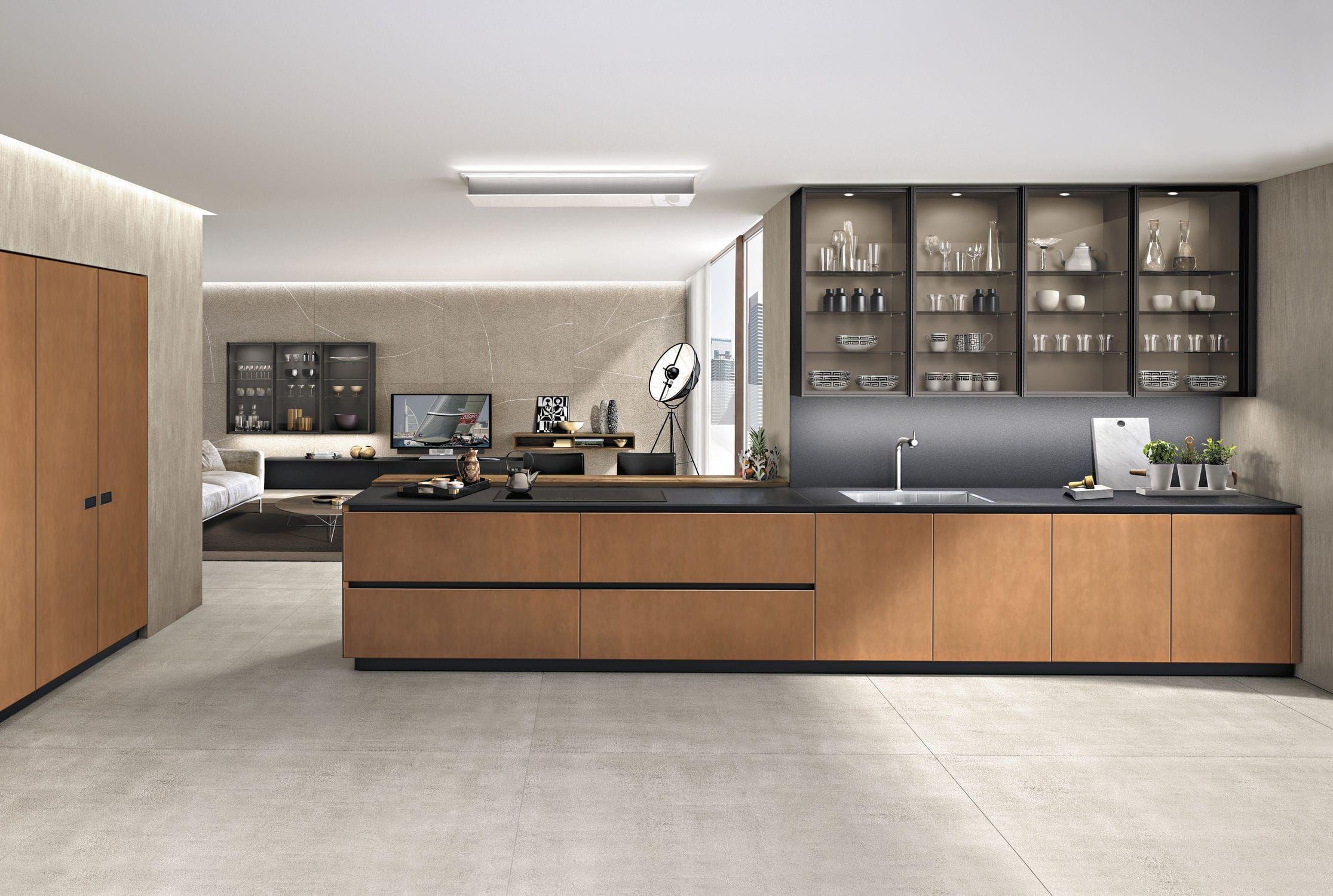 cuisine contemporaine en m tal en bois avec lot. Black Bedroom Furniture Sets. Home Design Ideas