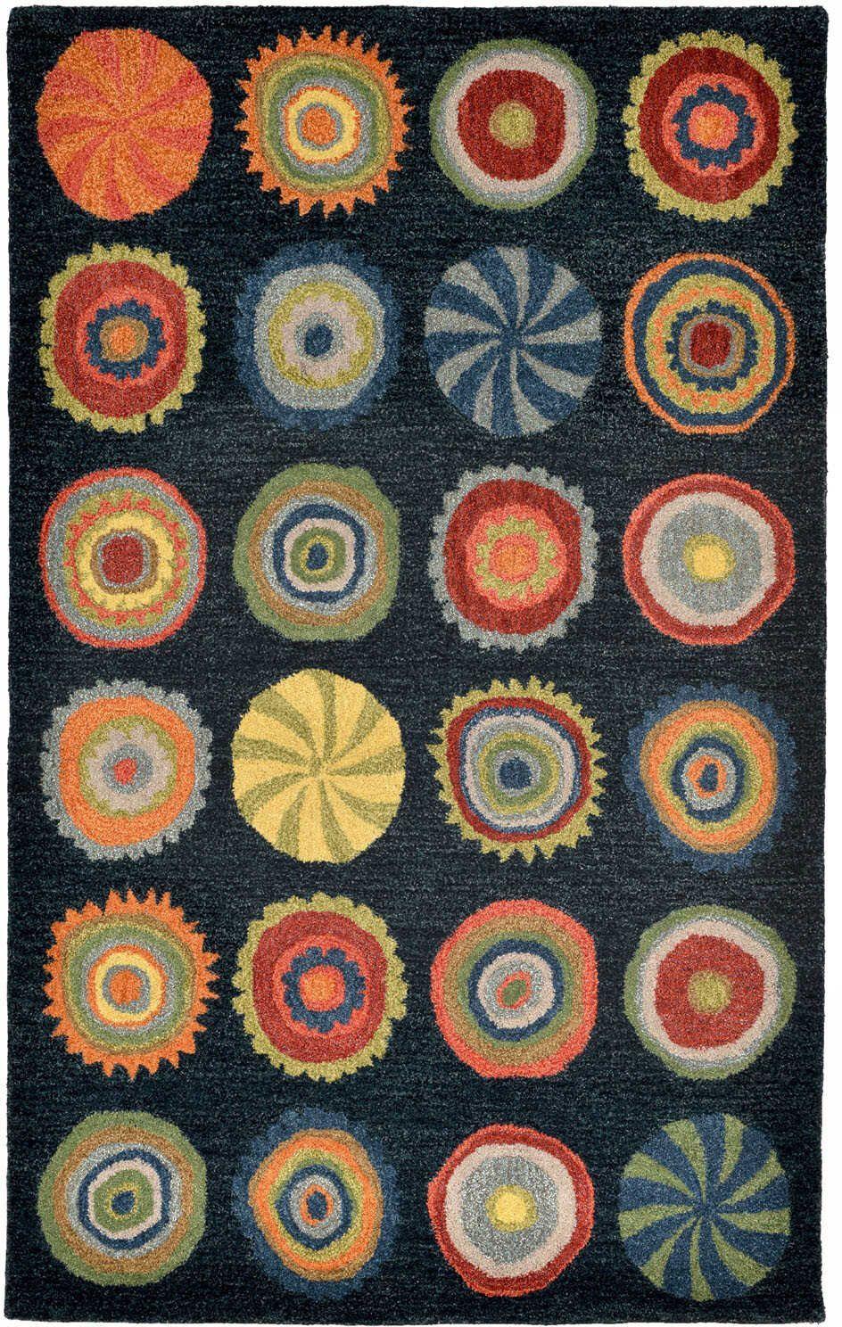 Trans Ocean Inca Pop Circles Denim Area Rug Circle Rug Hand Tufted Rugs Area Rugs