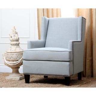 Charming Abbyson Living Lorena Fabric Nailhead Trim Light Blue Armchair