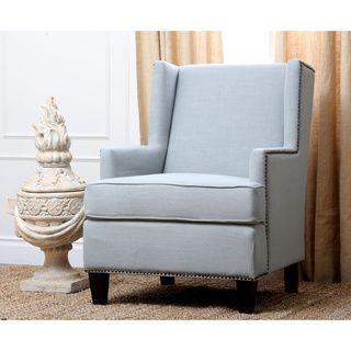 Charming Abbyson Living Lorena Fabric Nailhead Trim Light Blue Armchair
