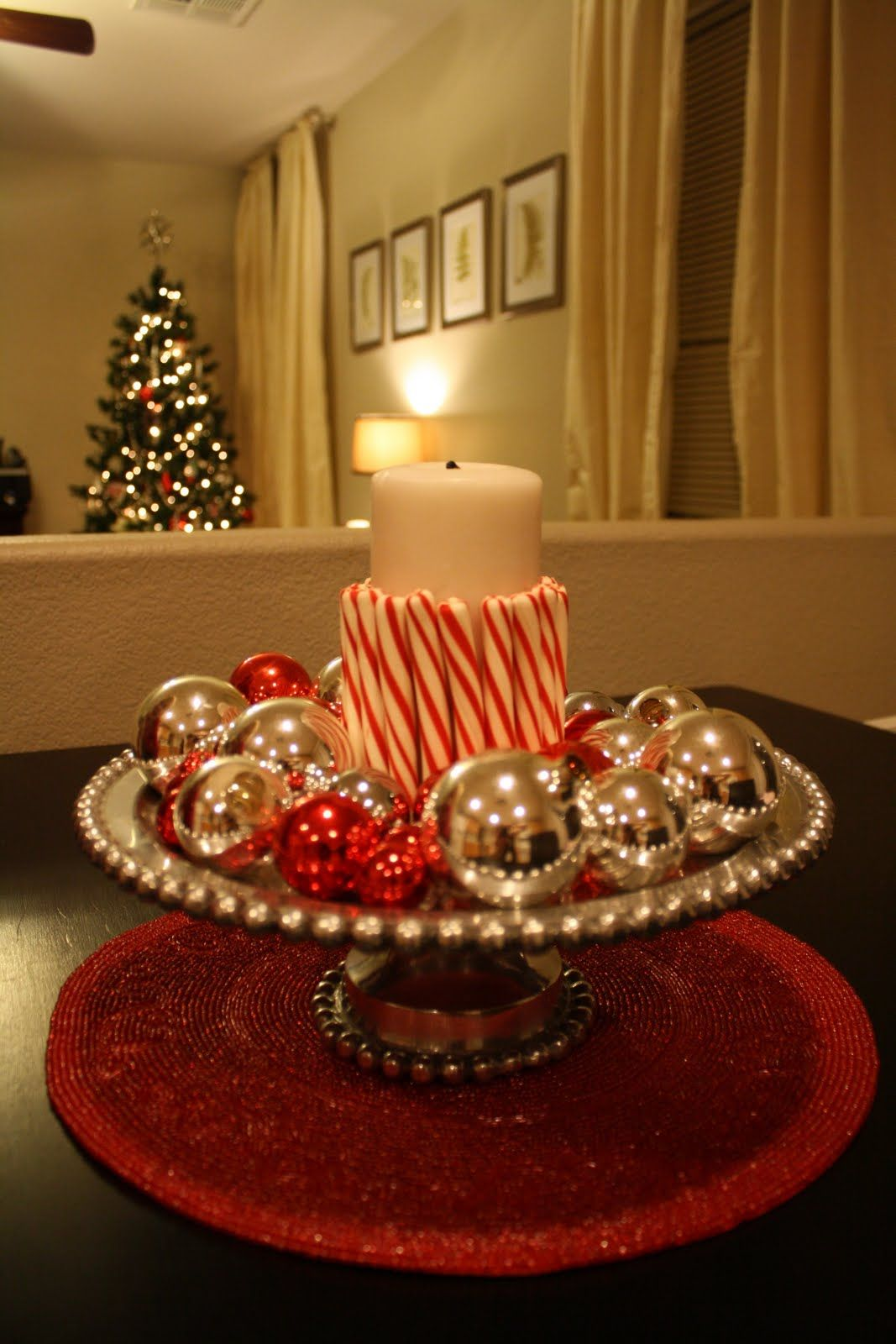 Candy Cane Candle Homemade Christmas Table Decorations Christmas Table Decorations Centerpiece Christmas Centerpieces