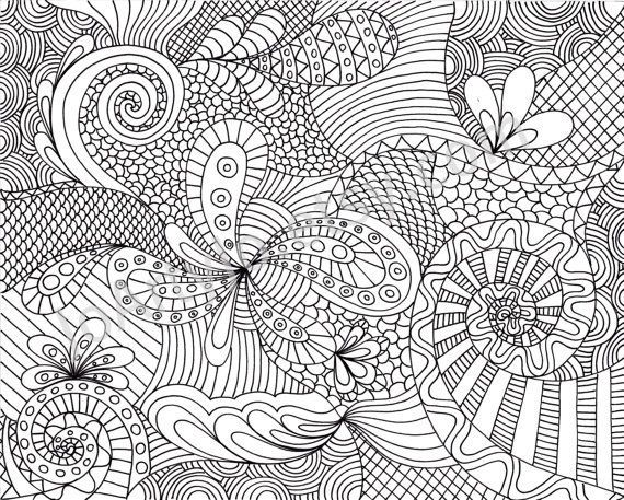 printable adult coloring pages coloring page printable zentangle inspired pattern by joartyjo on - Colouring Ins