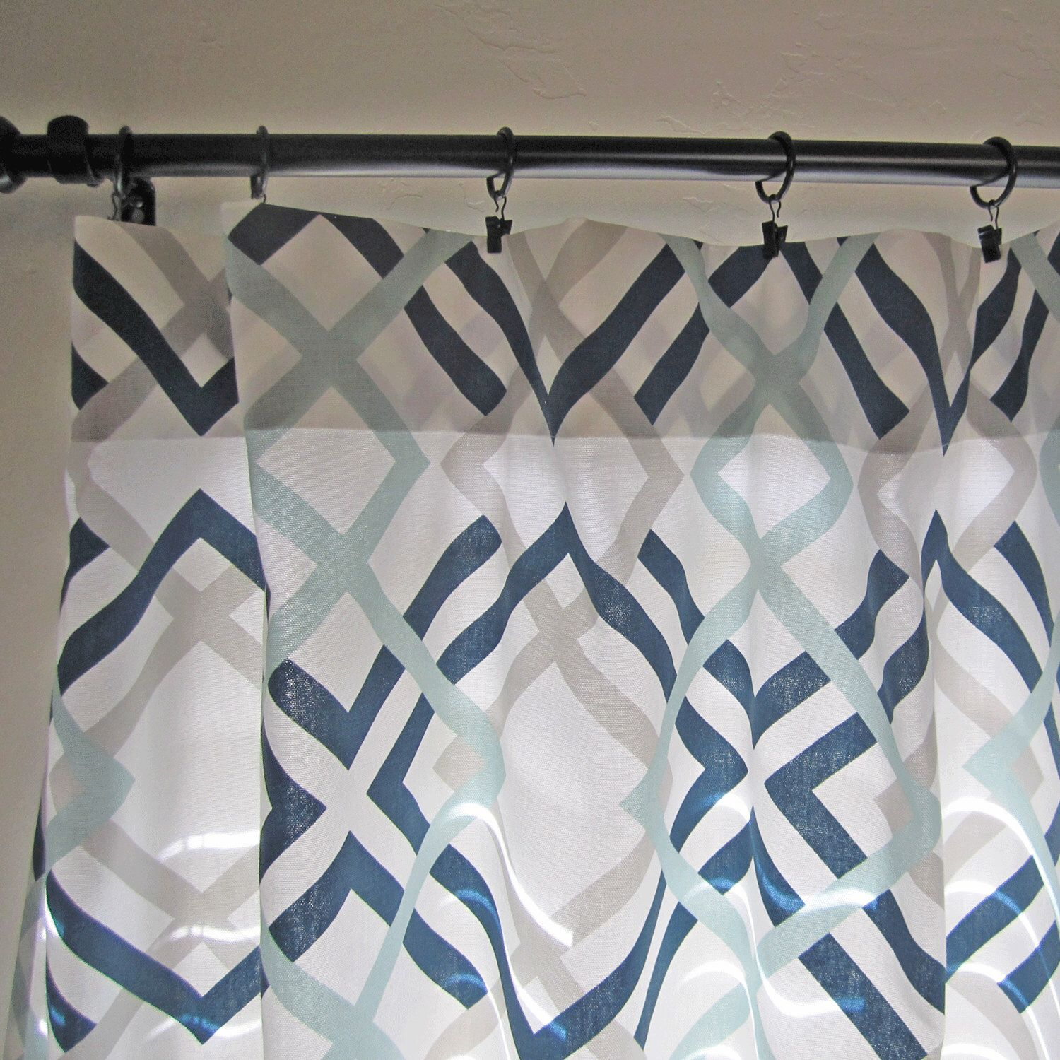 Navy Gray Aqua Curtain Panels Pair Of Home Decor