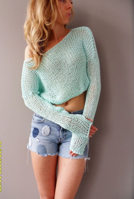 Cropped sweater. Summer cotton crop top. Knit cotton sweater