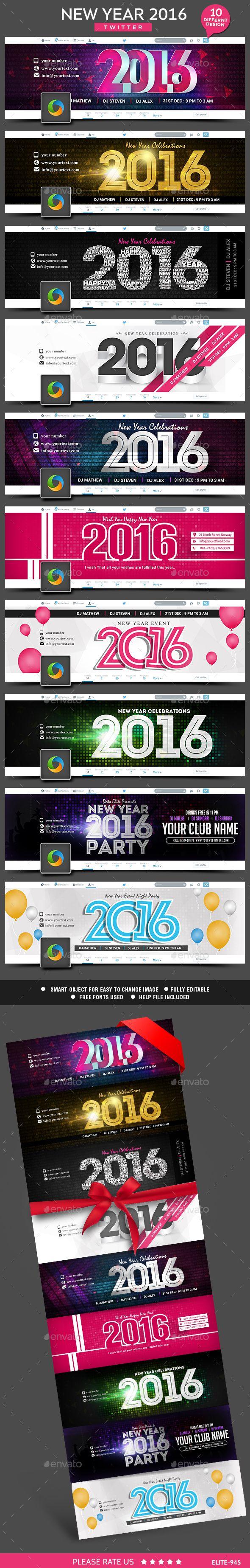 New Year Twitter Headers 10 Designs Twitter Template Twitter Header Webpage Design