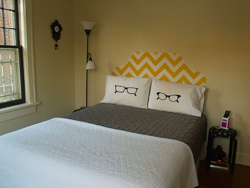 Fabric headboard starched onto the wall behind the bed. Using starch means you can take & How To: Fabric Headboard | Wallpaper headboard Diy headboards and ...