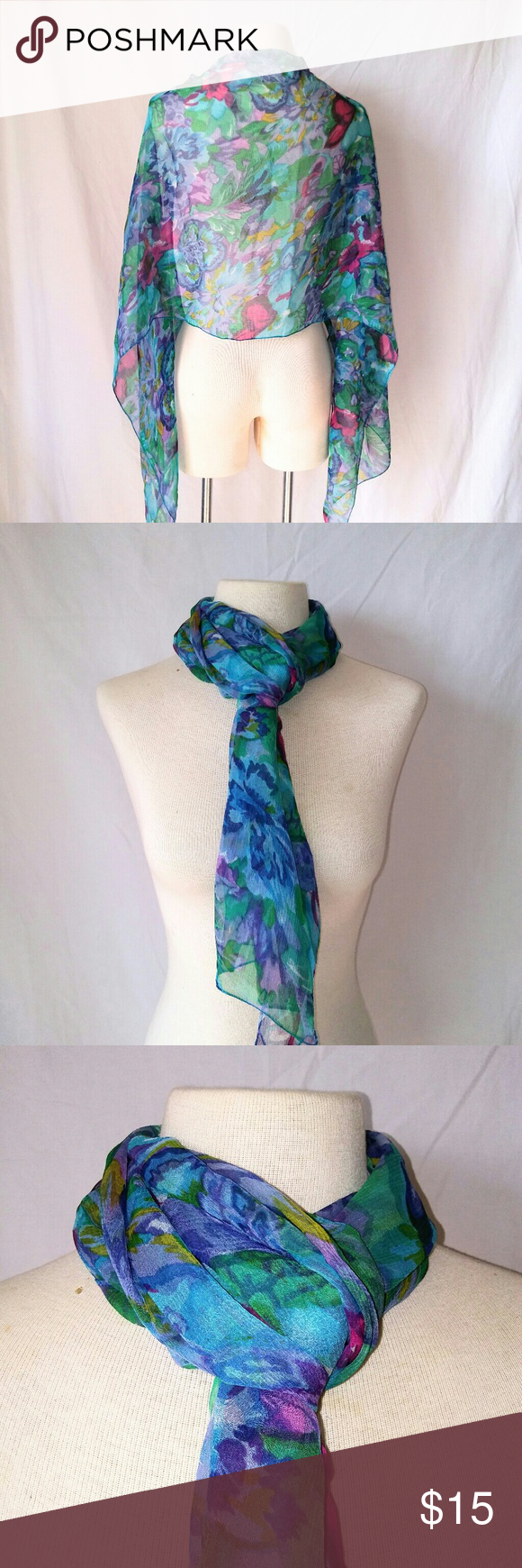"2for1 SHEER Blues Scarf Blue, Pink, Green & Purple Watercolor Floral Design Large Sheer Rayon Scarf. In excellent used condition. From a smoke free home. Make an offer! SAVE on SHIPPING & get a DISCOUNT by making a BUNDLE! Get 20% off on 2+ items. 2for1 SCARF SALE: Buy one ""2for1"" scarf at full price and get another scarf of equal or lesser value for free! Purchase the first scarf, comment on the second scarf, & I'll ship both! Vintage Accessories Scarves & Wraps"