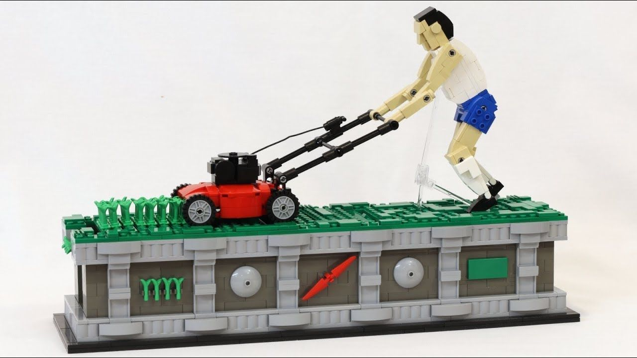 An Amazing Kinetic Lego Sculpture Of A Modern Day Sisyphus Mowing