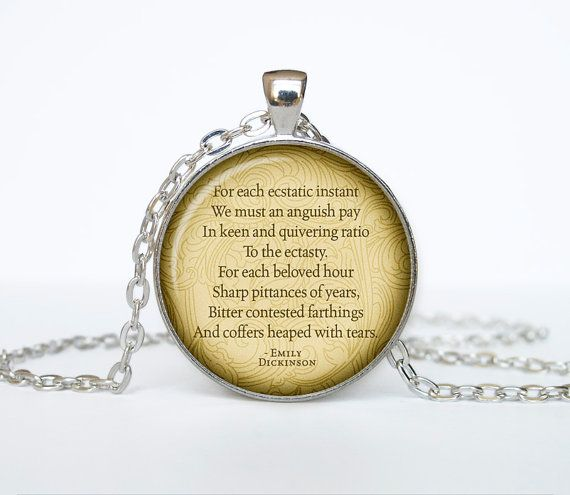 Attirant Emily Dickinson Poems Necklace Quotes Pendant Victorian England Jewelry