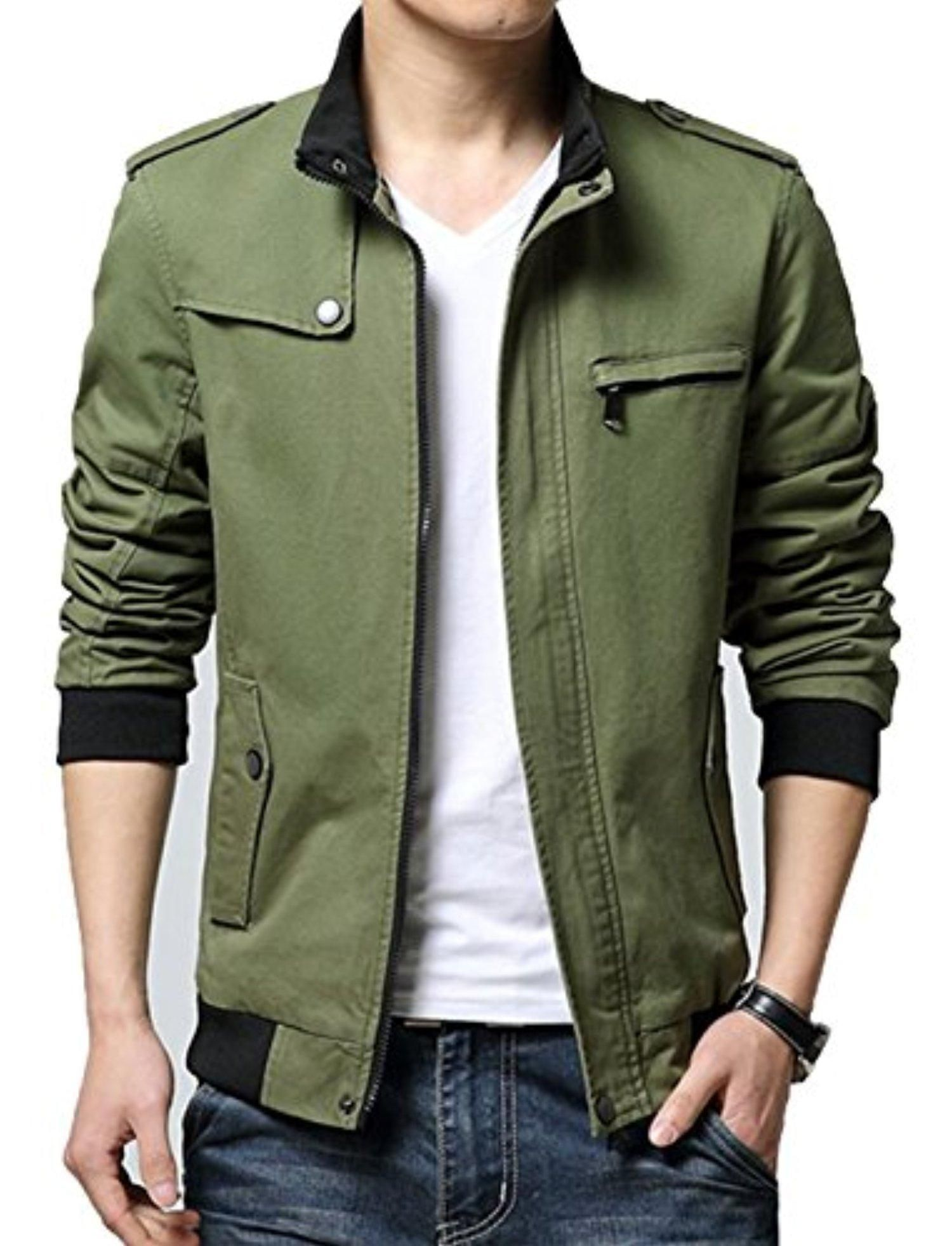 XueYin Men's Solid Cotton Casual Wear Stand Collar Jacket(Army green,XS size) - Brought to you by Avarsha.com