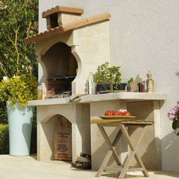 Barbecue En Béton Blanc Et Orange Cusco L62 X L180 X H
