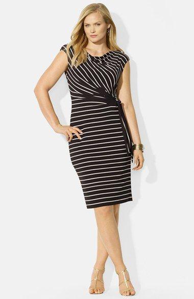 31c8dd9c4bf Lauren Ralph Lauren Side Tie Stripe Matte Jersey Dress (Plus Size)  available at