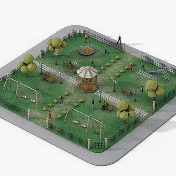 Low Poly Urban Park With Children Games Made In 3d Max
