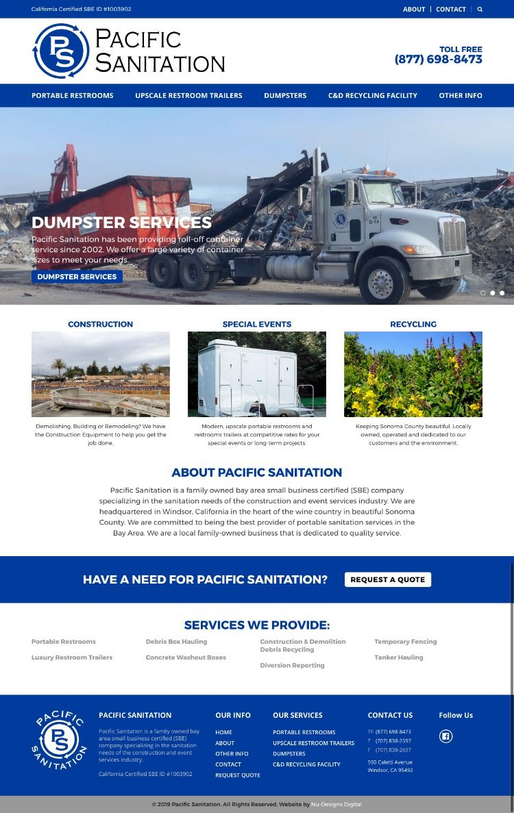 Pacific Sanitation Recycling Facility Dumpster Service Content Management System