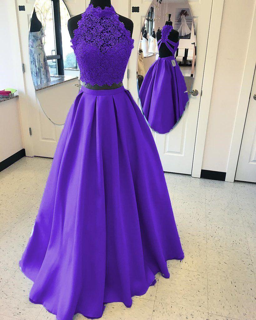 A Line High Neck Open Back Satin Prom Dresses Two Piece Prom Dresses Two Piece Purple Prom Dress Prom Dresses Long Blue [ 1024 x 820 Pixel ]