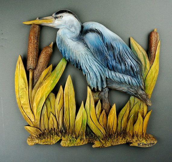 Great Blue Heron Art Wall Art Decorative Art animal carved on wood ...
