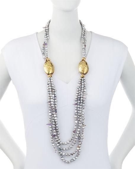Layered Freshwater Pearl, Amethyst & Bronze Beaded Rope Necklace