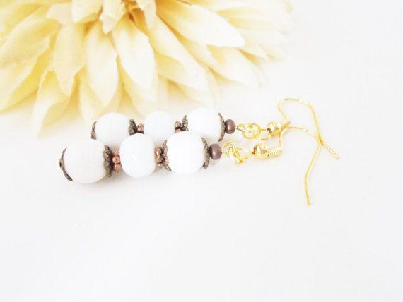 White Jade Earrings, Copper and White, Antiqued Bronze Earrings, Bridal White Jewelry, Bohemian Earring, White Czech Glass Beaded Jewelry