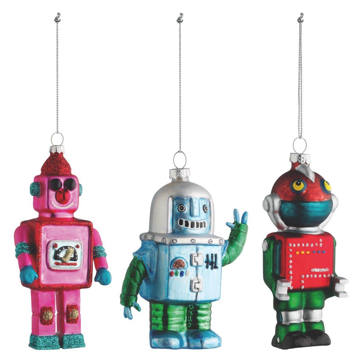 ROBOT Set of 3 multicoloured Christmas tree decorations  Oo