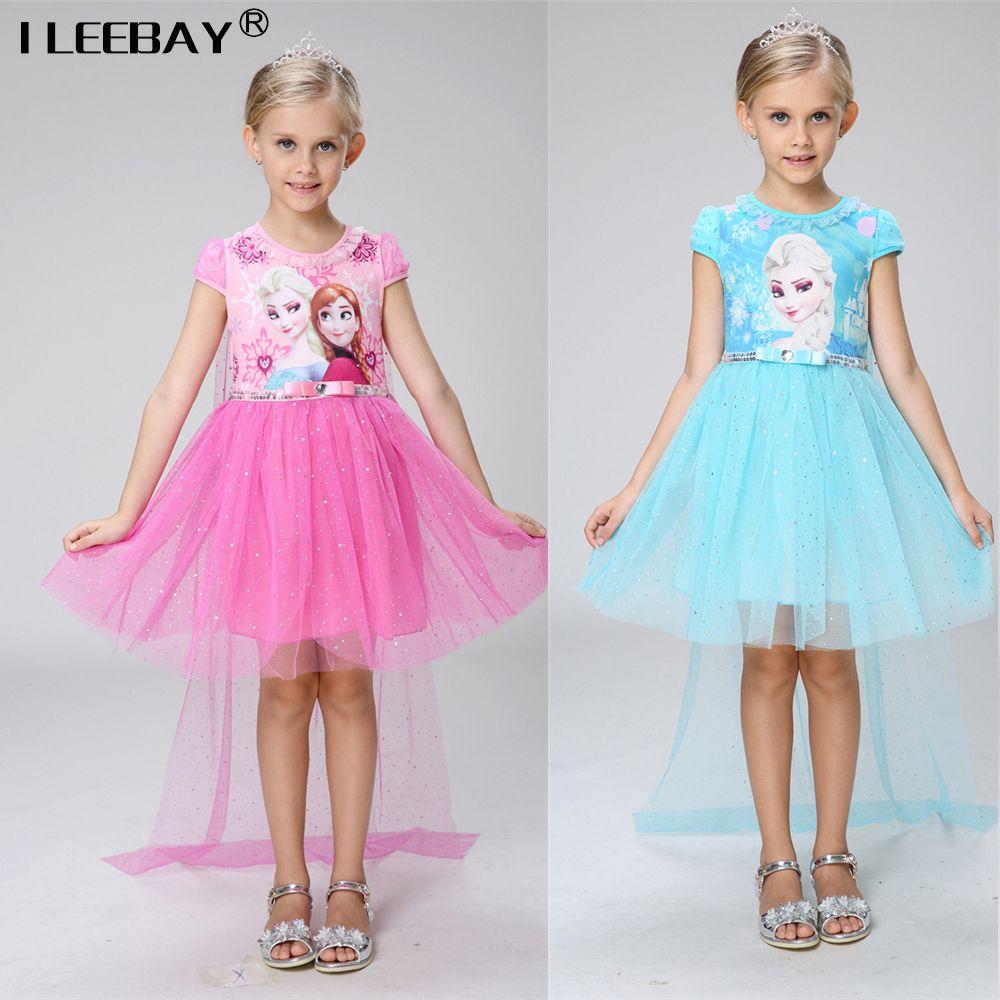 2017 Summer Children Elsa Anna Princess Dresses Toddler Party ...