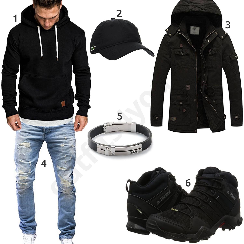 winteroutift mit schwarzem hoodie parka und adidas. Black Bedroom Furniture Sets. Home Design Ideas