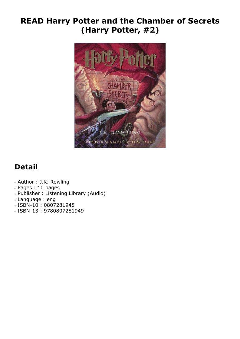 Pdf Harry Potter And The Chamber Of Secrets Harry Potter 2 Dtd Pdf Ebook Epub Doc Audiobook Listening Library Chamber Of Secrets Audio Books