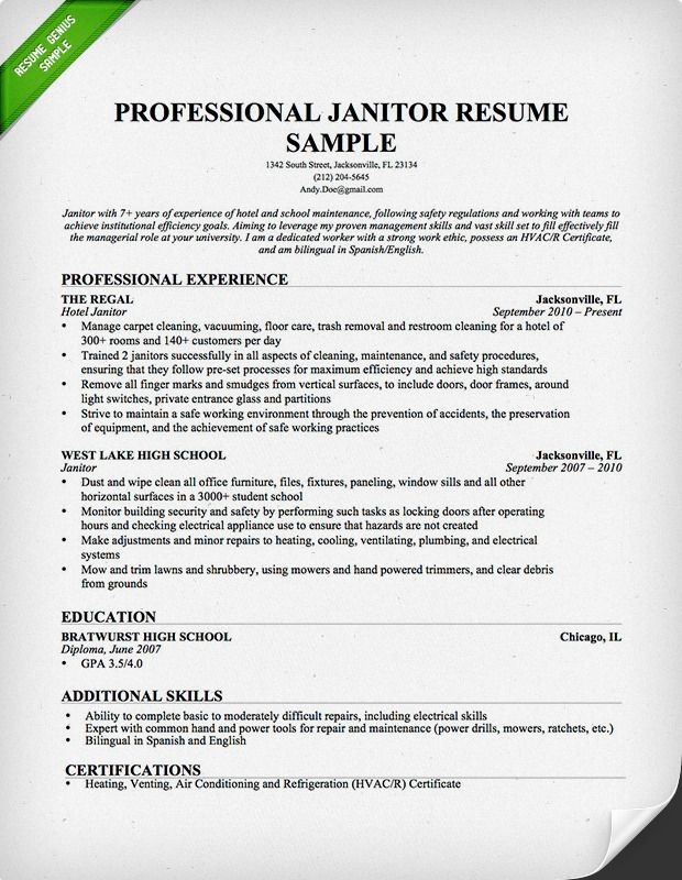 1000+ images about Resume Genius Resume Samples on Pinterest ... Use this Janitor resume sample and writing guide to help you build your own resume today!