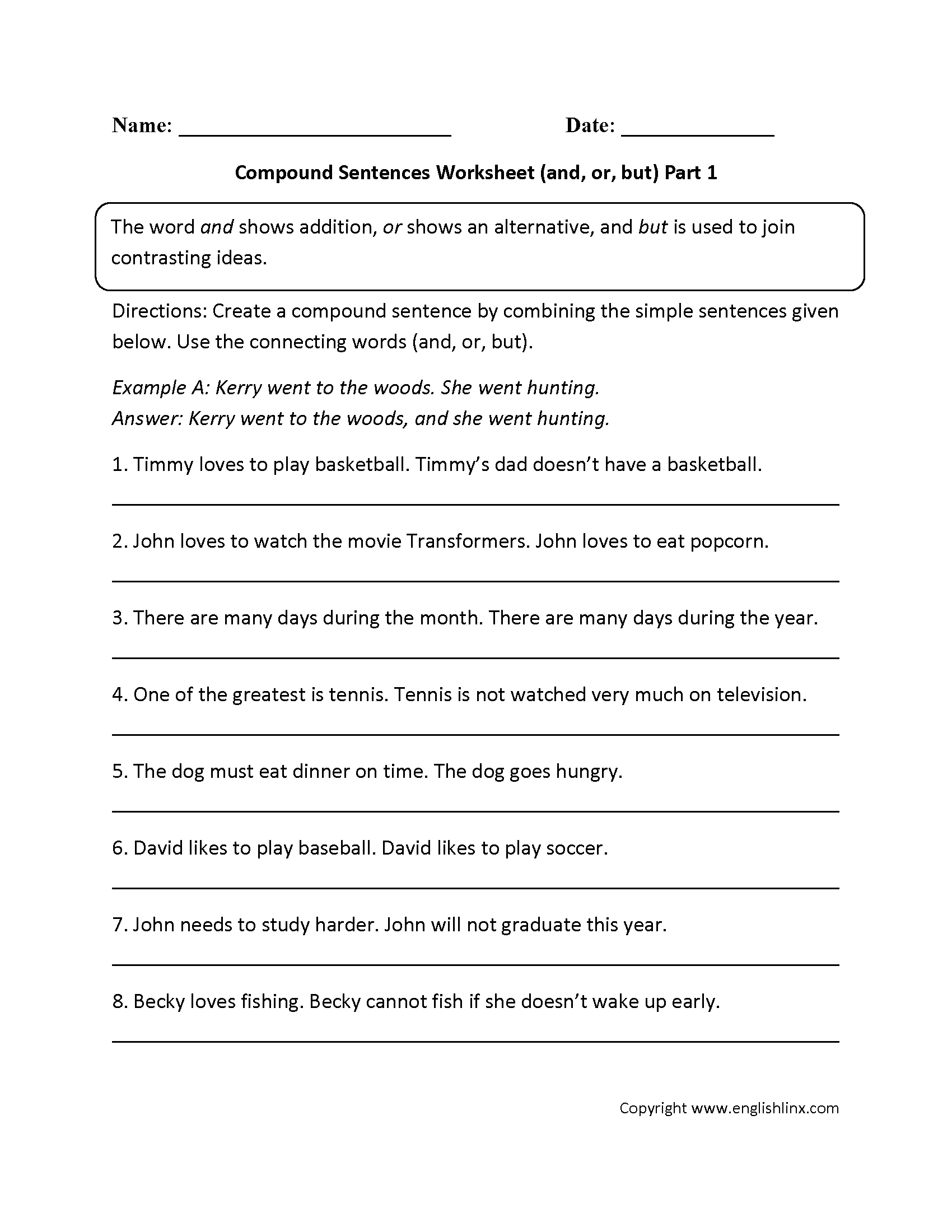 Worksheets Quiz On Types Of Sentences Simple Compound Complex Compound-complex andor and but compound sentences worksheet complex sentencesimple