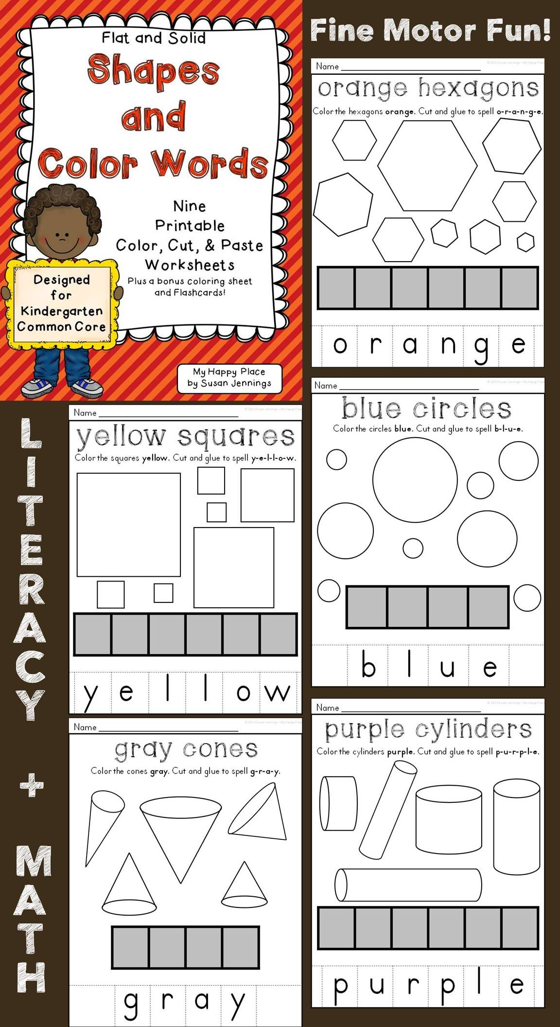Kindergarten Flat And Solid Shapes Color Cut And Paste Worksheets With Color Words Great For