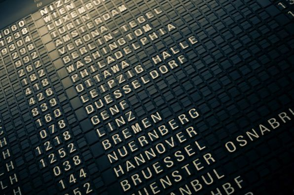 Old Style Flippy Departure Board At Frankfurt Airport In Germany