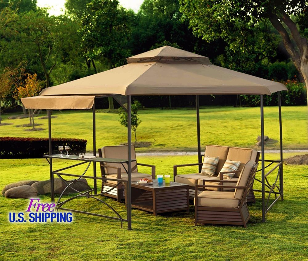 metal fabric gazebo canopy outdoor patio tent garden kiosk shed steel beige roof - Outdoor Canopies