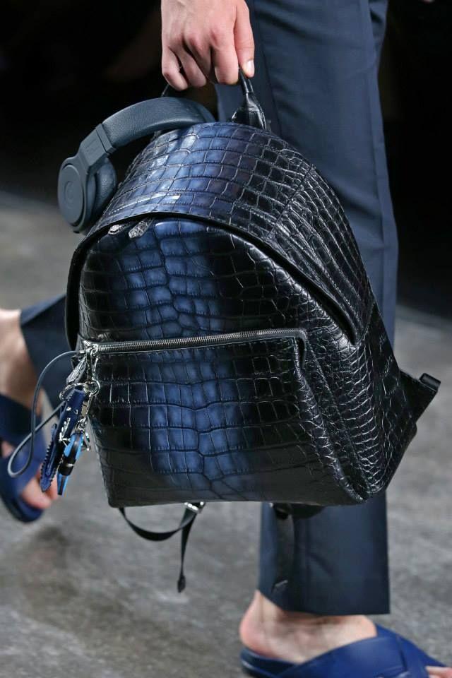 170d08a033aa Fendi Black/Blue Crocodile Backpack Bag - Men's Spring/Summer 2015 ...