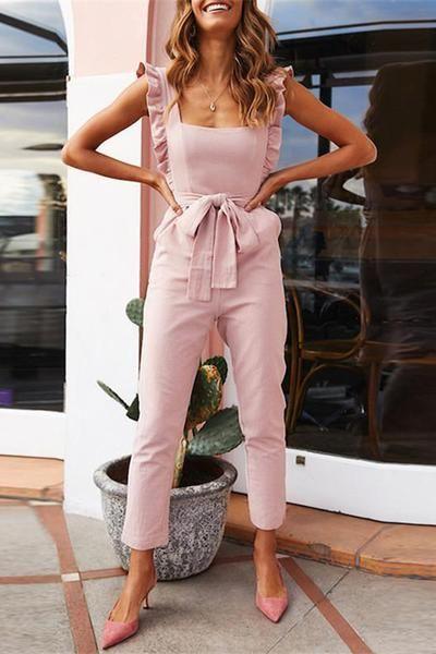 fashion Falbala Shoulder Straps Solid Color Waistband Jumpsuits