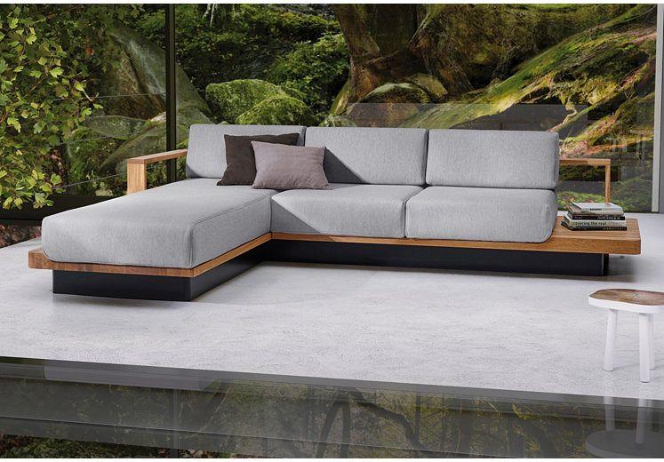 ADA Premium Polsterecke Hudson Mit Eleganten Massivholz Elementen