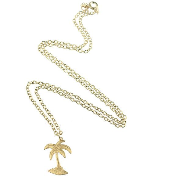 YOLANDA Vintage Palm Tree Necklace (€14) ❤ liked on Polyvore featuring jewelry, necklaces, gold plated jewelry, short necklace, chains jewelry, palm tree jewelry and chain necklaces