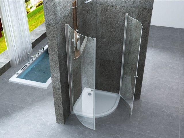 Box doccia semicircolare con doppia apertura a battente