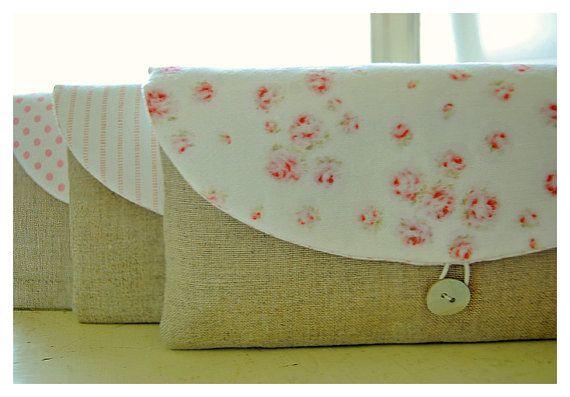 Shabby Linen clutch Mix Roses bag purse Set 3 by hoganfe on Etsy,
