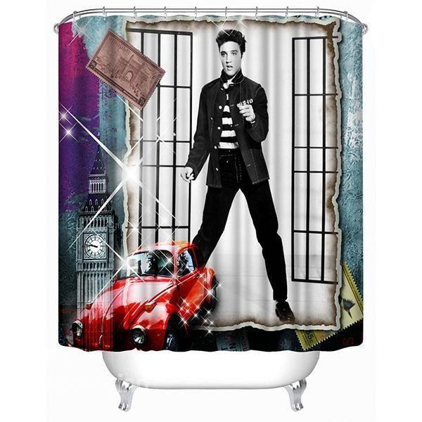 Handsome Young Elvis Print 3d Bathroom Shower Curtain Bathroom