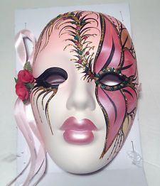 "mini ceramic mardi gras masks | New Porcelain Mardi Gras Mask, theatrical 7"" wall decoration ceramic ..."